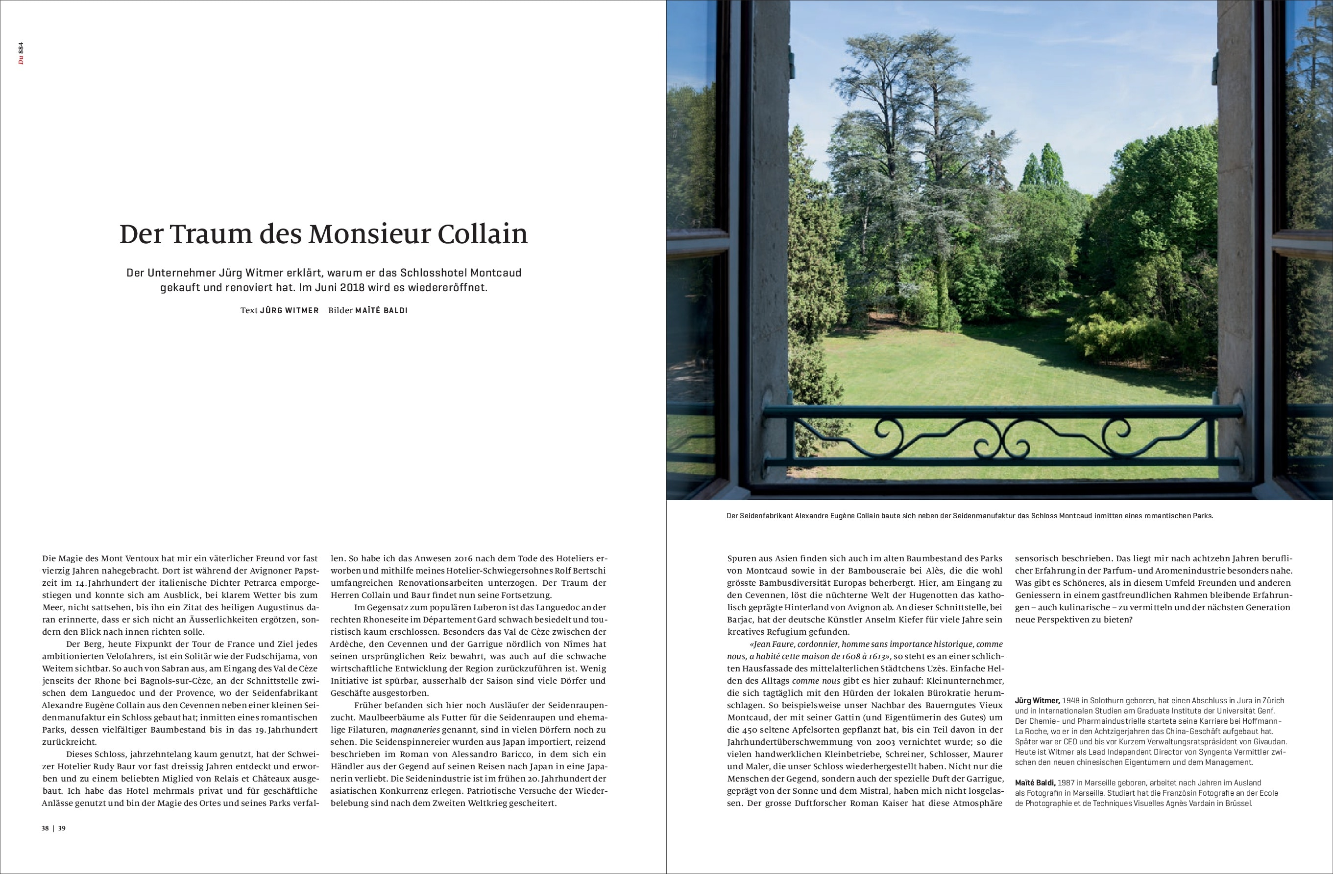 Article sur le rêve de Monsieur Collain et image du vue d'une chambre du Château de Montcaud sur le parc