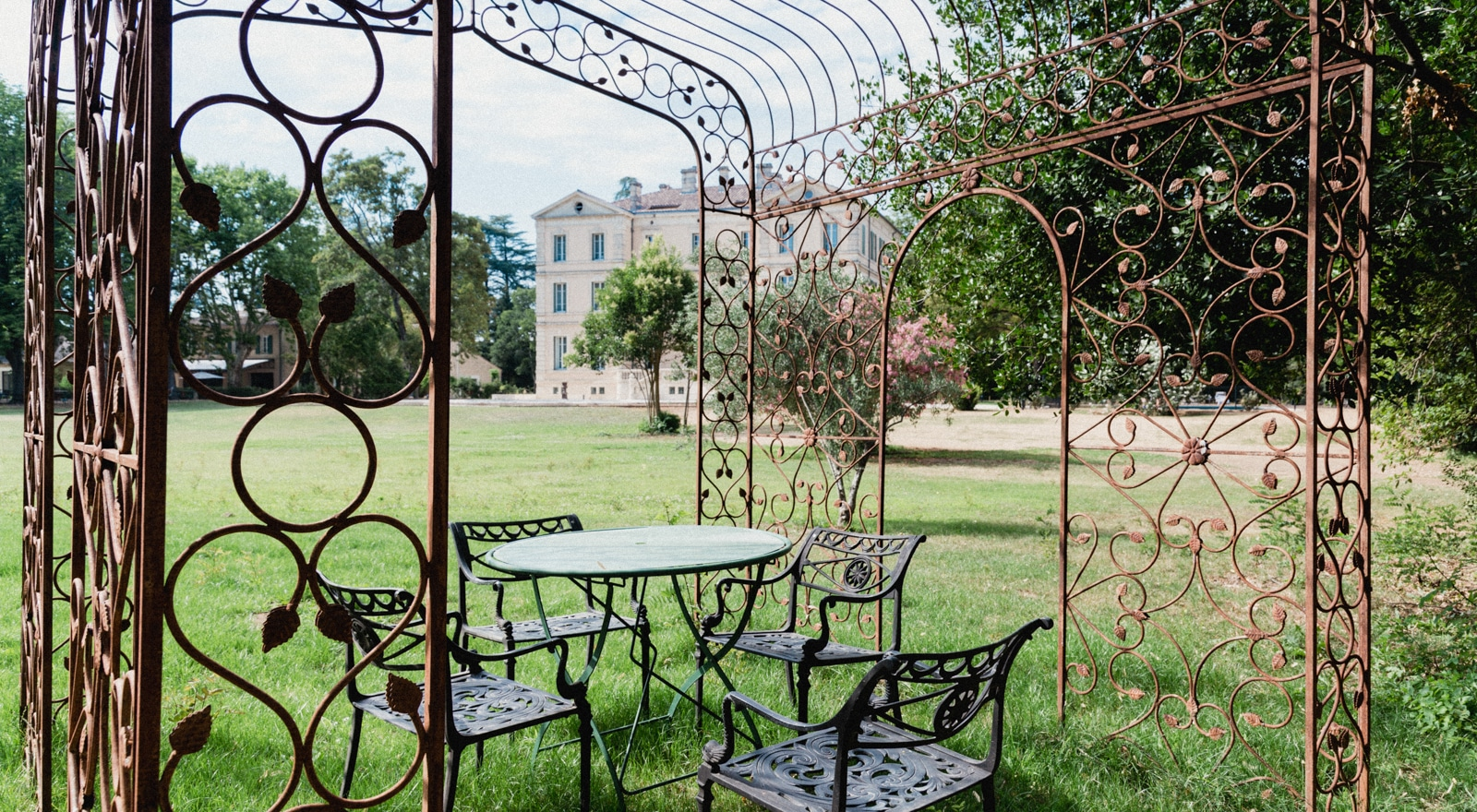 Romantic spot in the park at Château de Montcaud, hotel Provence South of France